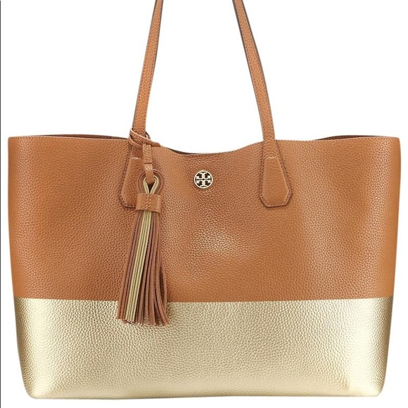 2237ca5b240 Tory Burch Leather Colorblock Tan Gold Tote